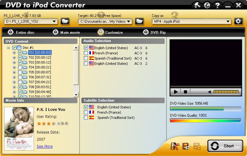 convert dvd to ipod in customize mode by Aviosoft DVD to iPod Converter