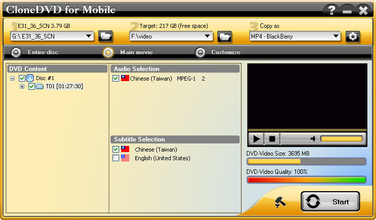 mian interface - dvd ripper