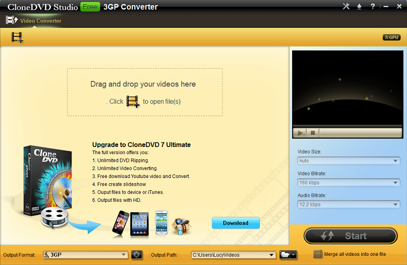 CloneDVD Studio Free 3GP Converter 1.0.0.0
