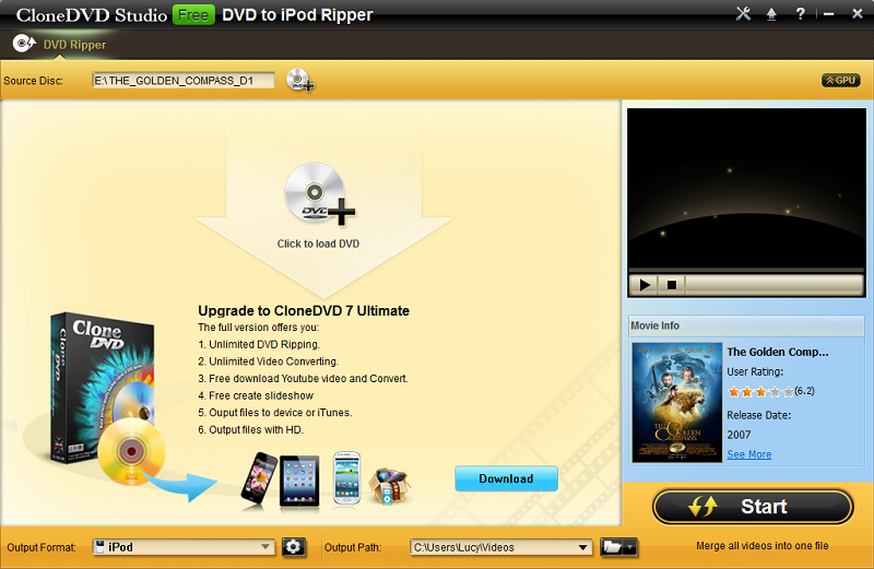 CloneDVD Studio Free DVD to iPod Ripper screenshot
