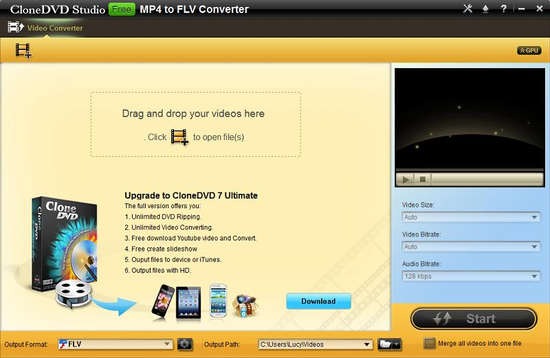 Free download CloneDVD Studio Free MP4 to FLV Converter