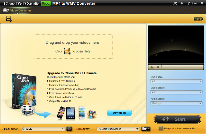 CloneDVD Studio Free MP4 to WMV Converter 1.0.0.0